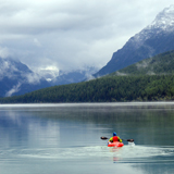 Kayaker on Bowman Lake